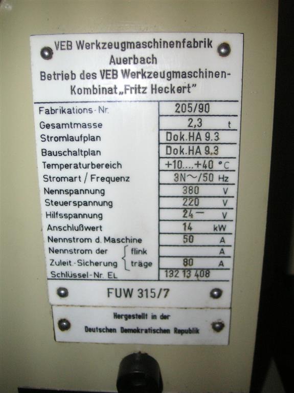 MASCHINENFABRIK AUERBACH FUW 315 /7