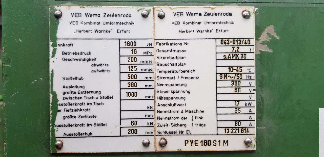 WEMA ZEULENRODA PYE160/S/1M